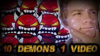 10 DEMONS IN 1 VIDEO!? - Road to 500 #18 - [Geometry Dash 2.11]