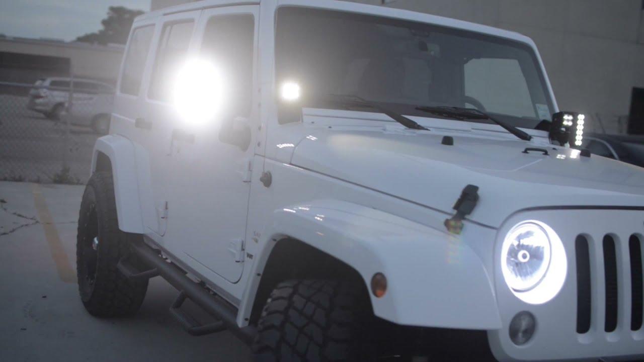 oracle jeep wrangler sahara with white leds - youtube