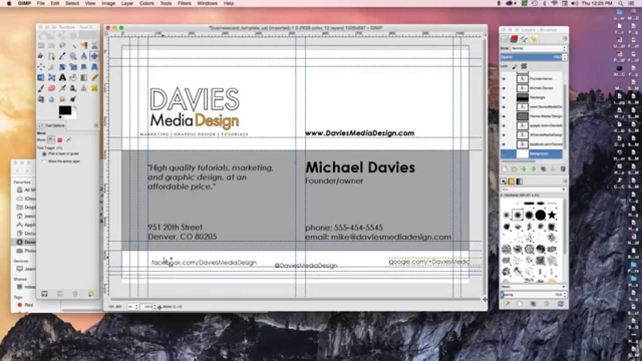 how to make a business card in gimp 2 8 youtube