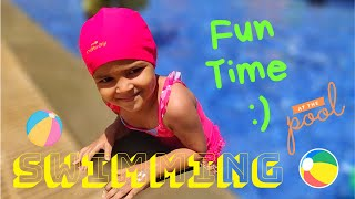 Cute Baby Having Fun in Swimming Pool   2 Years Old Splashing Water in Swimming Pool