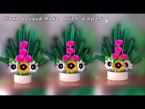 diy easy paper flowers bouque / handmade paper flower bouque / making flower bouquet easy