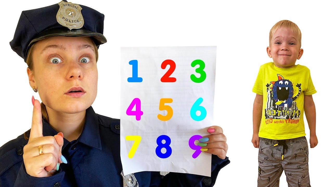 Лера и полицейский учат правила безопасности