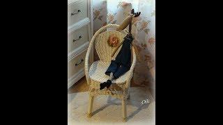 Плетение из газет. Оплетаем стул. Мастер-класс.