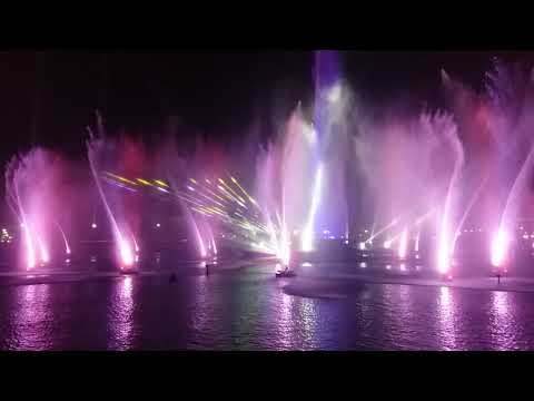 Water Fountain show with laser lights at Dubai Festival City Mall