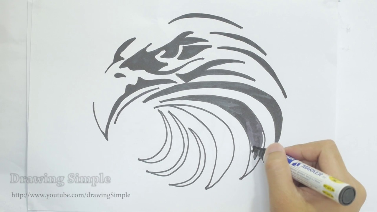 59a249242 Ep. 119 - How to draw eagle head tribal tattoo design - YouTube