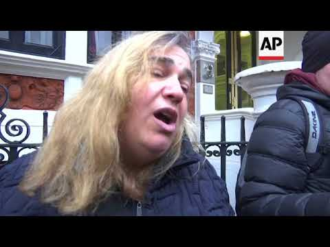 Assange supporters gather outside Ecuadorean embassy