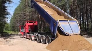 Выгрузка песка из самосвального полуприцепа MEGA