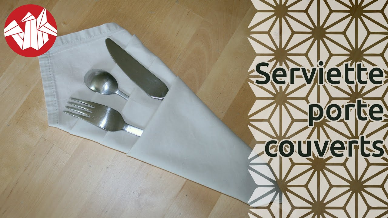 Origami serviette porte couverts senbazuru youtube - Pliage serviette facile range couverts ...