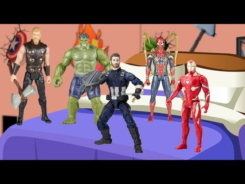 Five Little Avengers jumping on the bed | Marvel Avengers Nursery Rhyme for Kids
