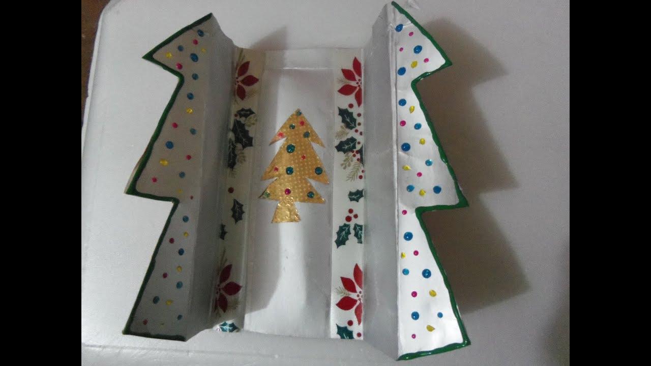 Tarjeta navide a reciclada de tetrapack youtube - Hacer una tarjeta navidena ...