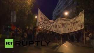 Greece: EU flag burns in anti-austerity trade union protest