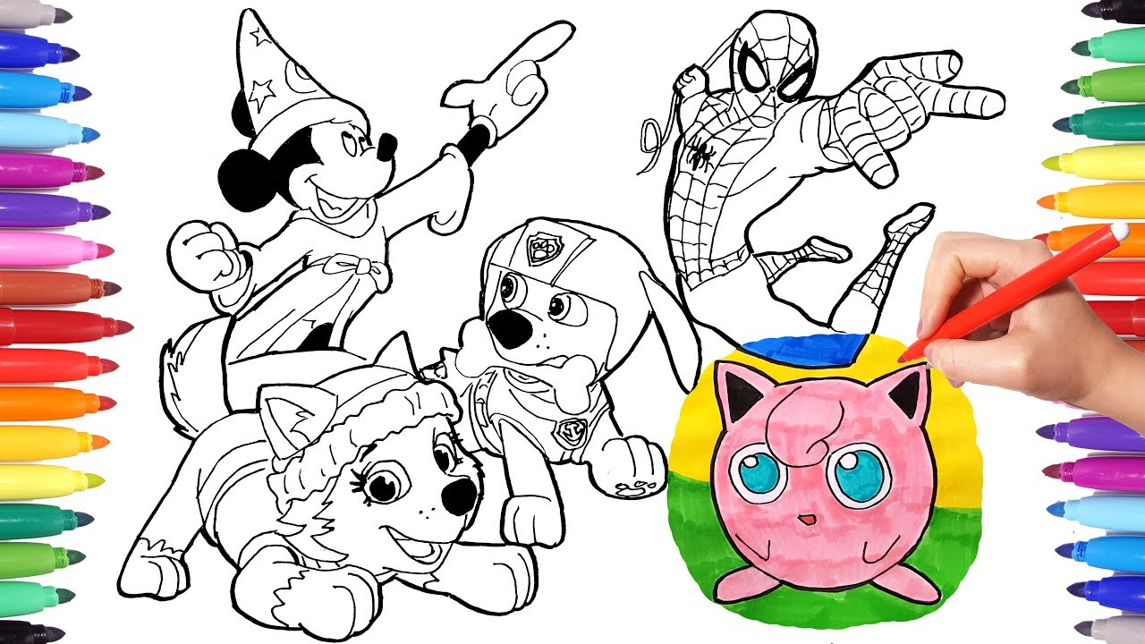- Cartoon Characters Coloring Book Page 5: Mickey Mouse, Jigglypuff