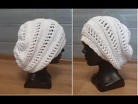 Ажурная шапочка спицами для женщины