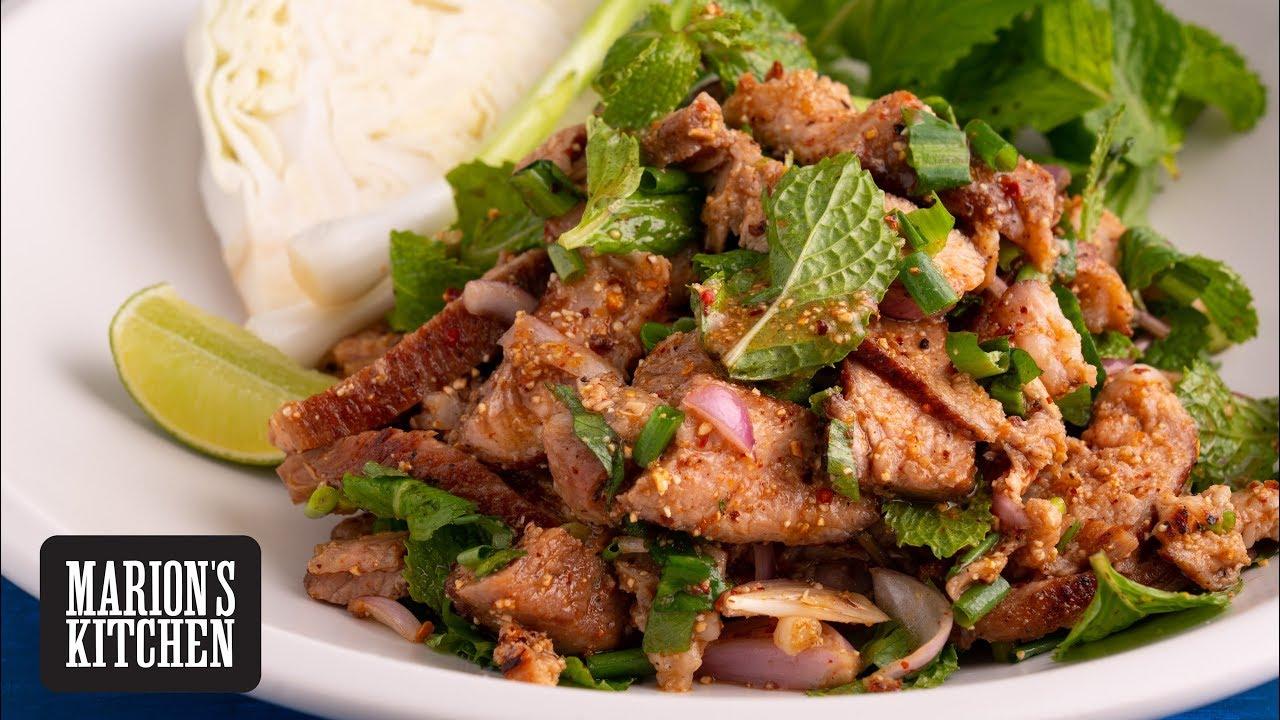 Spicy Thai Grilled Pork Salad (Moo Nam Tok) - Marion's Kitchen