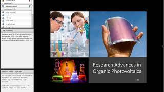 "Nicholas DeWeerd, ""Organic Photovoltaics: Today and Tomorrow"""