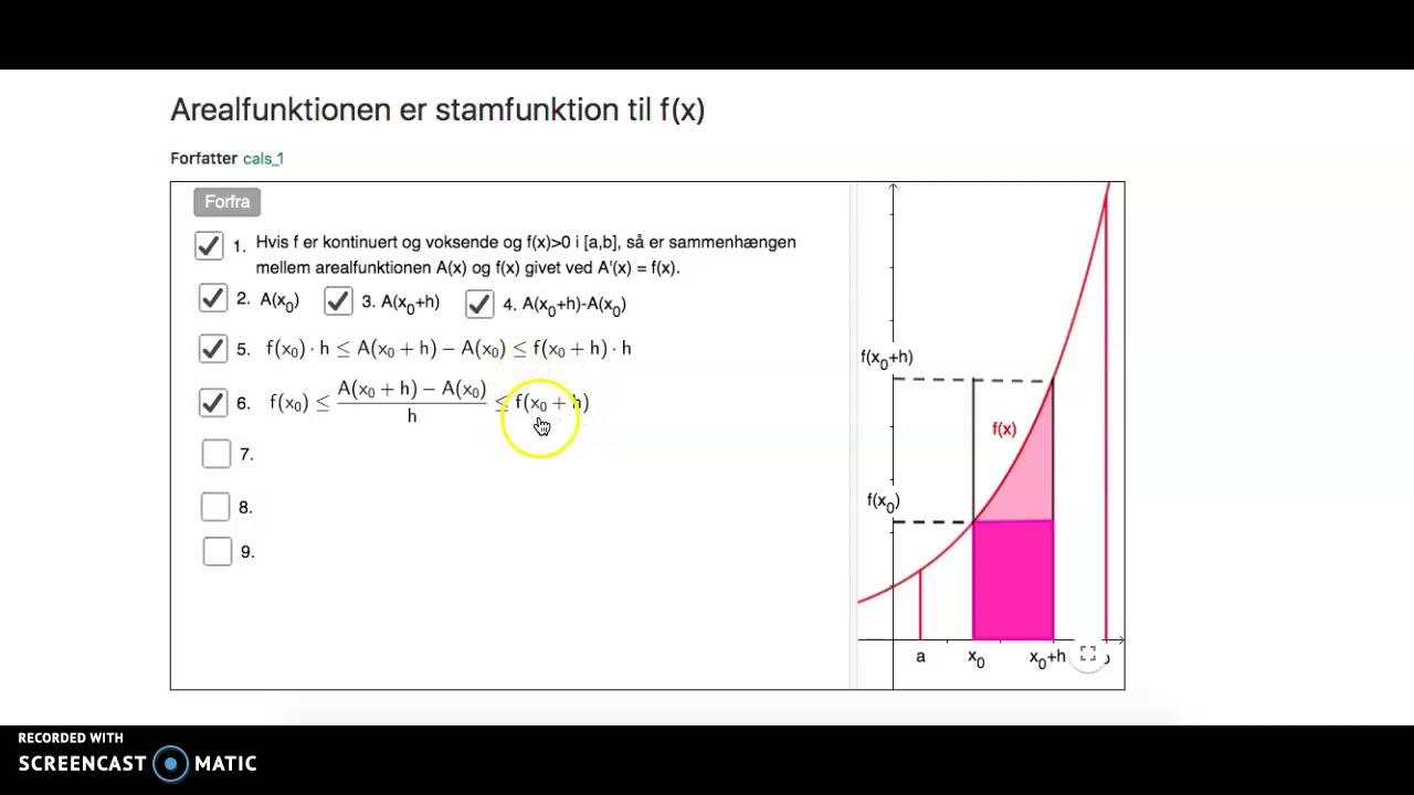 Arealfunktionen er stamfunktion til fx