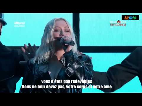 Christina Aguileira Fall In Line Ft Demi Lovato Traduction Française LIVE