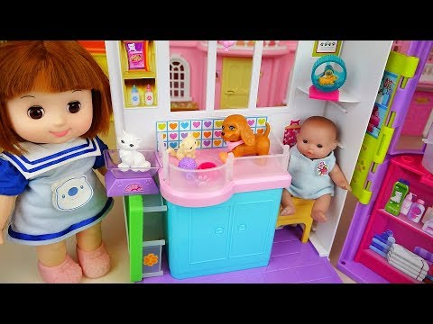 Baby doll and Pet care house toys baby doli park play