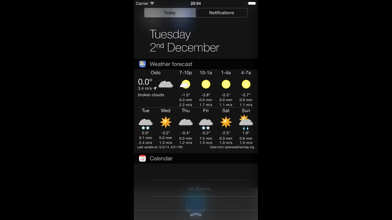 Widget Weather For Ios 8 With Animated Weather Symbols On Iphone 6