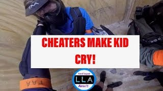 Airsoft cheaters make kid cry.