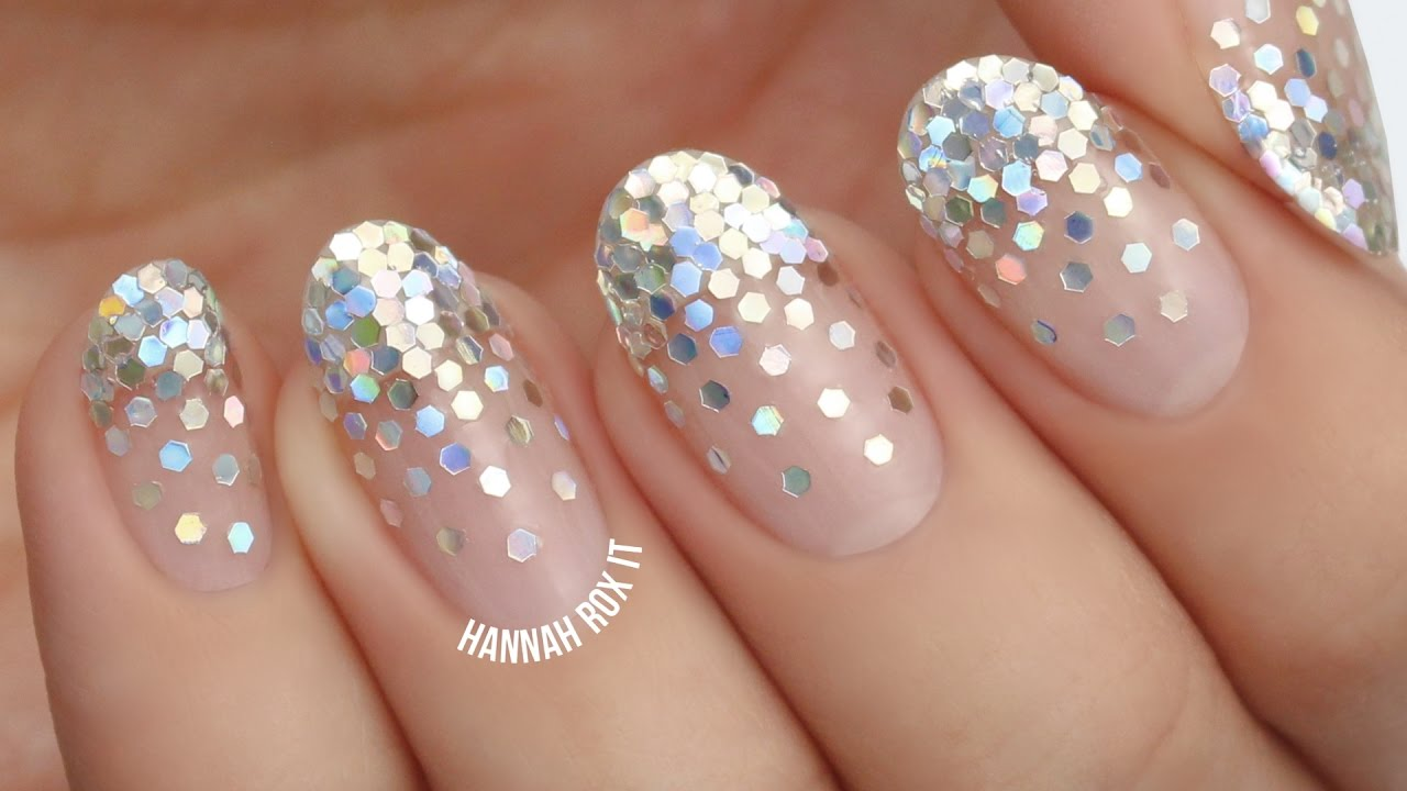 falling glitter placement nails