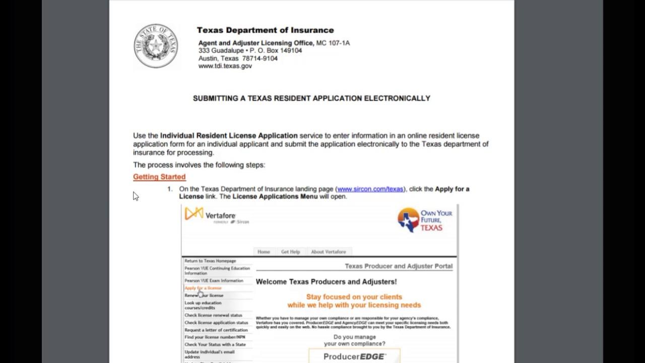 Apply For Tx Dept Insurance License Youtube