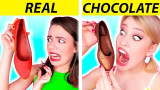 REAL FOOD VS CHOCOLATE FOOD CHALLENGE | Funny Pranks!! Taste Test by Ideas 4 Fun CHALLENGE