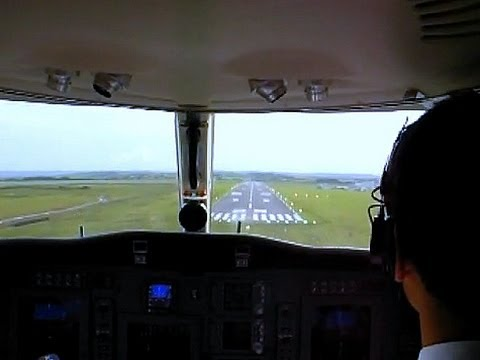 Cockpit View of Landing by Private Jet