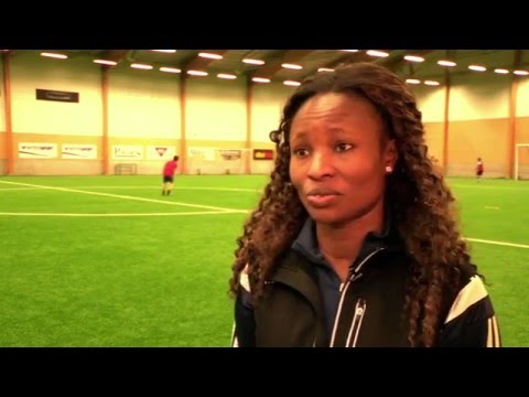African football star coaching migrants in Sweden
