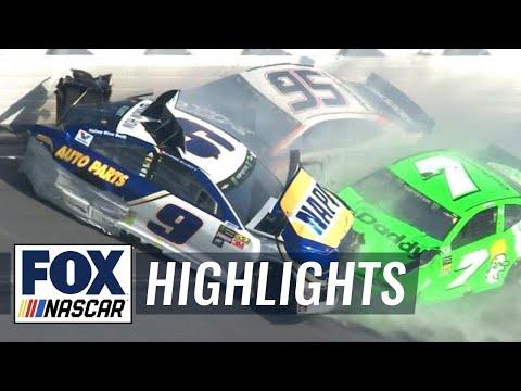 Danica Patrick & Chase Elliott collected in violent crash | 2018 DAYTONA 500 | FOX NASCAR