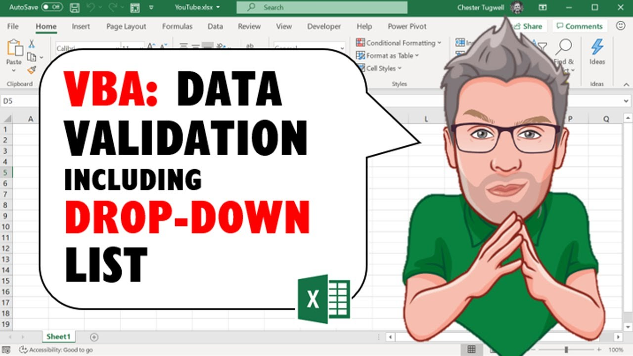 Excel VBA Code for Data Validation Including Drop Down List