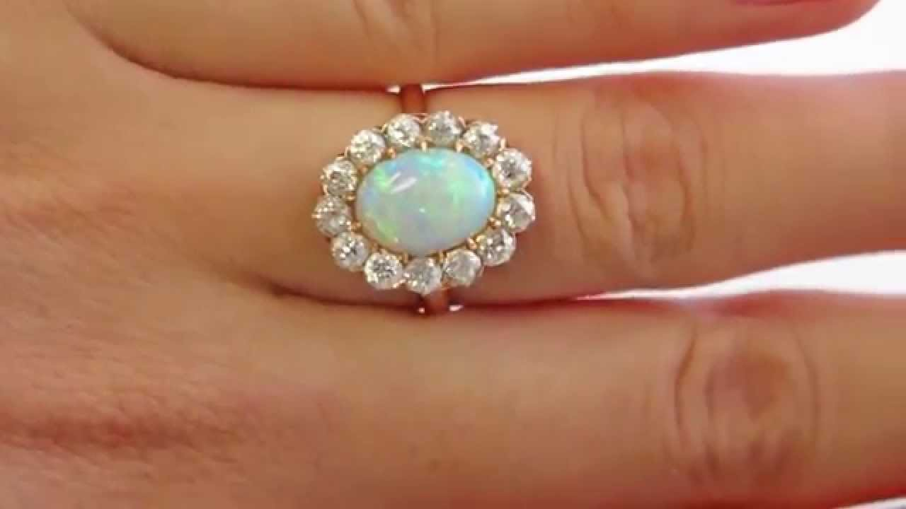 2 54ct Authentic Antique Edwardian Australian Opal And Diamond Cer Tail Ring
