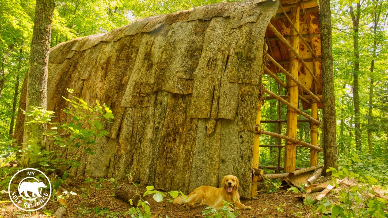My Self Reliance 4 Dogs and 4 Guys Build a Longhouse Using Hand Tools and Natural Materials | Bushcr
