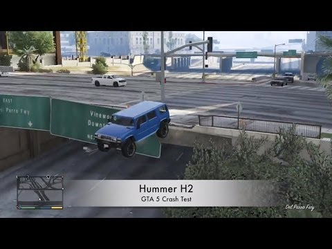 GTA 5 XBOX 360 Hummer H2 CRASH TESTING GAMEPLAY