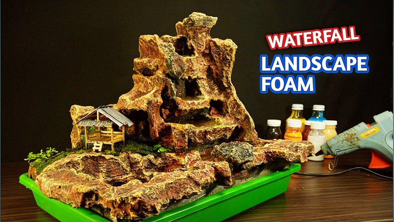 Ide Kreatif Membuat Air Terjun Mini Dari Styrofoam Motif Tebing Batu Youtube