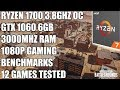 Ryzen 1700 + GTX 1060 6GB - 1080p Ultra Gaming Benchmarks - 12 Games Tested