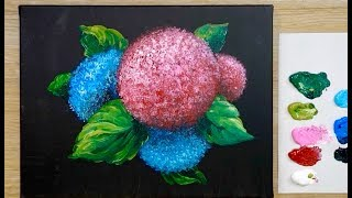 How to Paint a Hydrangea for Beginners / Acrylic painting technique ( Easy )