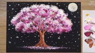 'Full Moon Night' Acrylic Painting Techniques