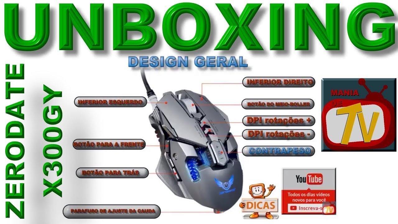 UNBOXING - ZERODATE X300GY - Gaming Mouse com DPI ajustável - Com fio - Mac  OS, Windows