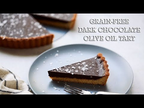 Grain-free Dark Chocolate Olive Oil Tart {Paleo, Vegan and Gluten-free}