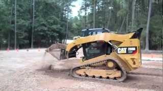 Caterpillar 299D CTL Grading Parking Lot