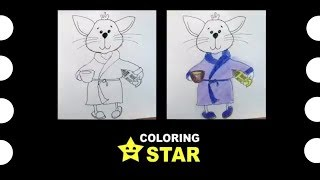 How to draw - Cat. 😺  Drawing and Coloring pussy cat. Coloring Star - Family channel.