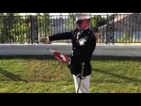 Marine Officer Opens Champagne with Sword