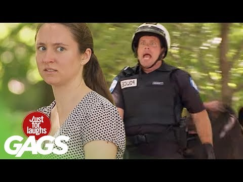 Cop Goes Horse Riding Backwards! - Just For Laughs Gags