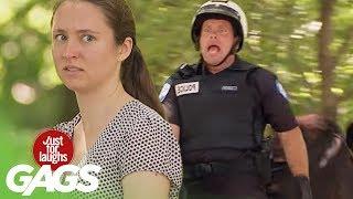 Cop Goes Horse Riding Backwards !