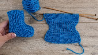 Легкие детские носочки на двух спицах - Easy Baby Socks Two Needle Knitting Pattern