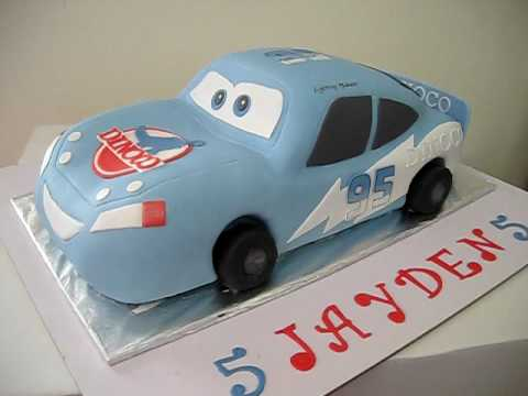 Fondant Cars Cake Lightning Mcqueen Dinoco Blue Car Youtube