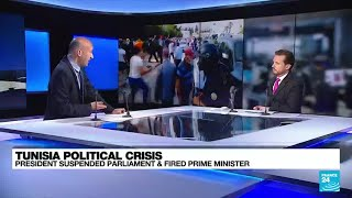 Clashes in Tunisia after president ousts PM amid Covid protests • FRANCE 24 English