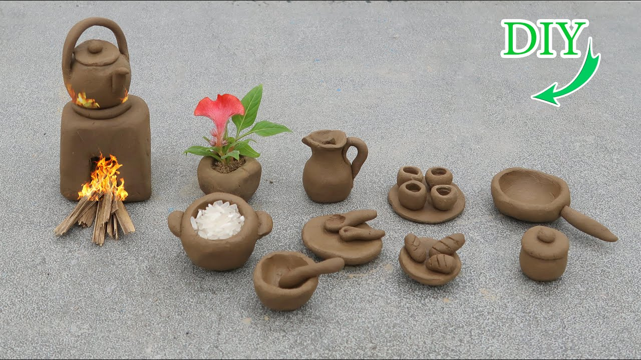 Easy way how to make miniature kitchen set with clay   hand made mini kitchen set   mini cookware