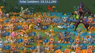 Lords Mobile Gr8 and BZR vs Online 20m troops Rally Trap from Overlord Guild